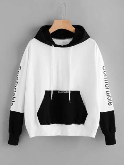 Letter Embroidered Kangaroo Pocket Color Block Hoodie