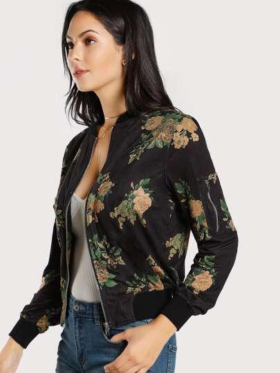 Floral Print Faux Suede Jacket BLACK