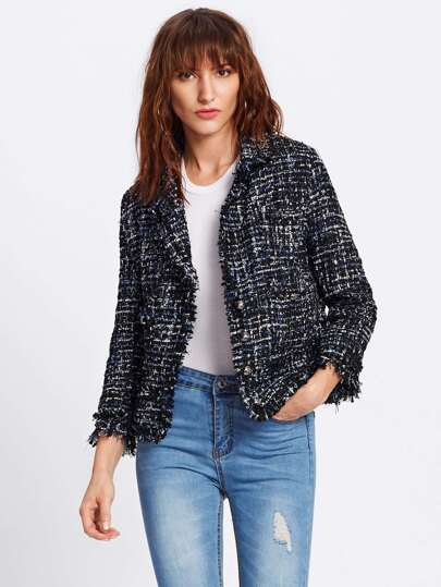 Frayed Edge Tweed Blazer