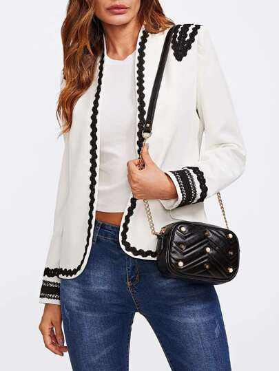 Contrast Wave Lace Trim Open Front Blazer