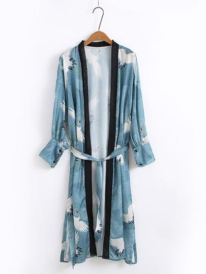Kimono con ribete en contraste con cordón en la cintura