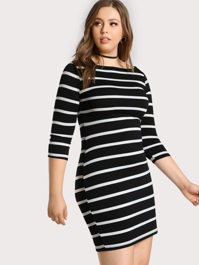 Striped Quarter Sleeve Midi Dress BLACK