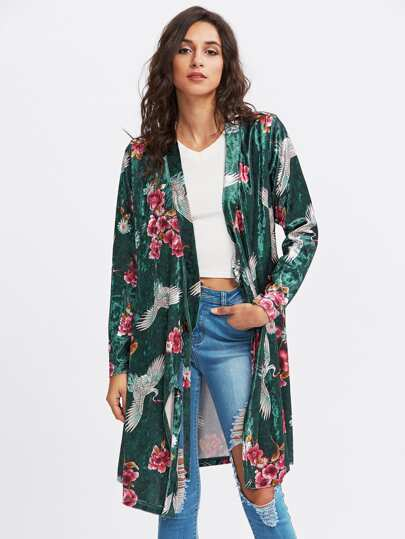Bird And Flower Print Velvet Wrap Coat