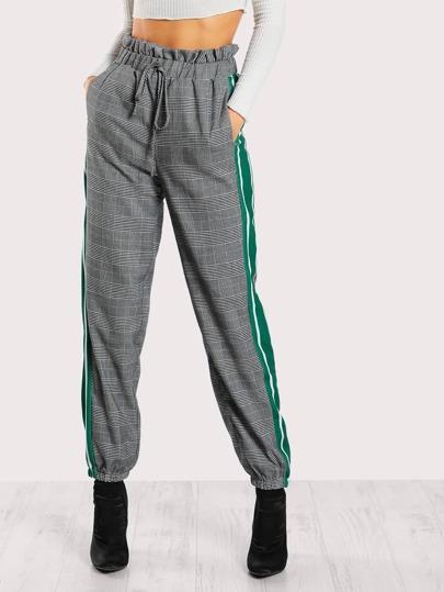 Pantalons taille ruchée à carreaux à rayures