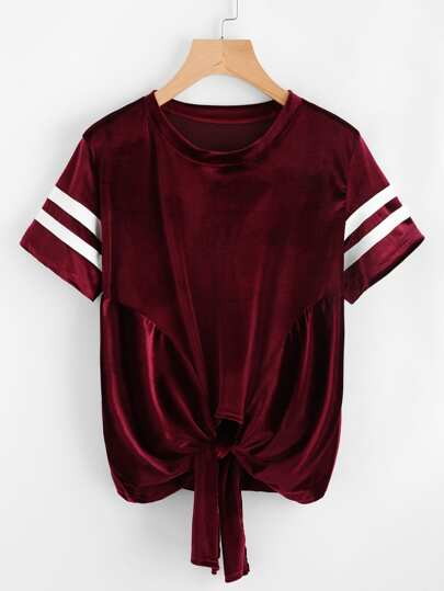 Velvet Varsity Striped Knotted Hem Tee
