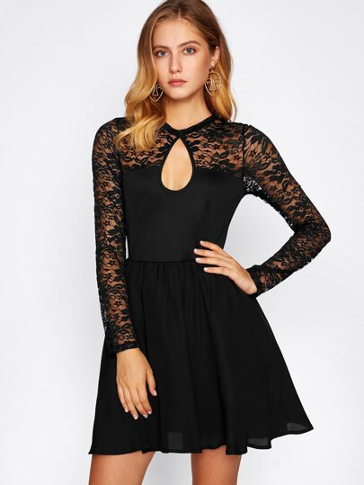Lace Yoke Cutout Skater Dress