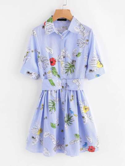 O-Ring Belt Detail Floral And Striped Shirt Dress