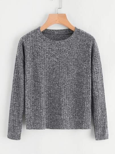 Suéter de canalé de hombros caídos