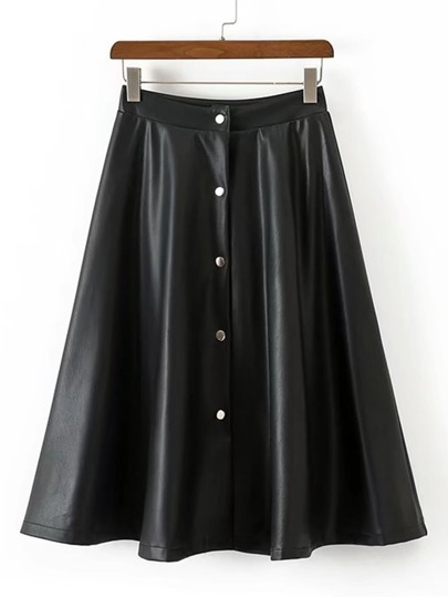 Button Up A Line PU Skirt