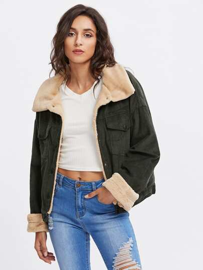 Corduroy Contrast Short Faux Fur Jacket