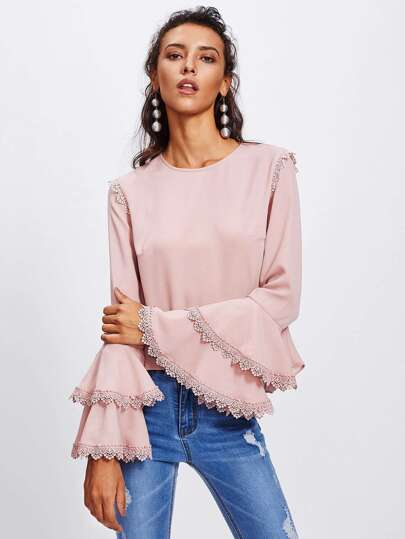 Lace Trim Tiered Trumpet Sleeve Top