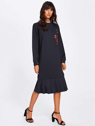 Flower Embroidered Pleated Hem Sweatshirt Dress