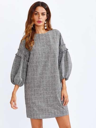 Модное клетчатое платье, рукав-фонарик