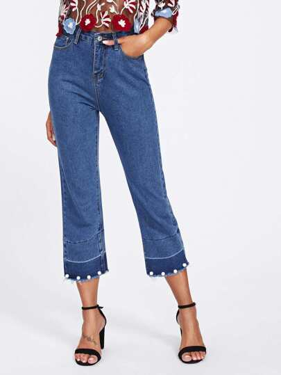 Faux Pearl Frayed Hem Jeans
