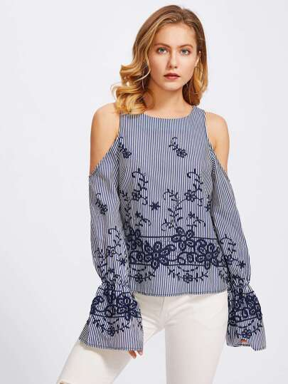 Open Shoulder Bell Cuff Embroidered Pinstripe Top