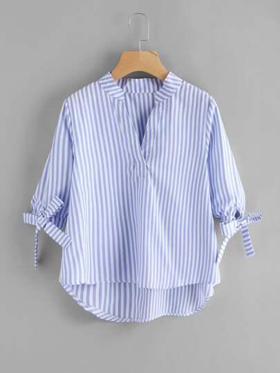 Blusa asimétrica de manga con cordón