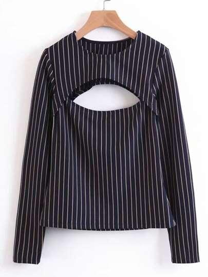 Double Cutout Striped Blouse
