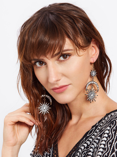 Rhinestone Moon & Sun Drop Statement Earrings