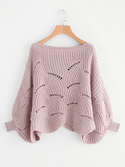 Loose Knit Scalloped Dolman Sweater
