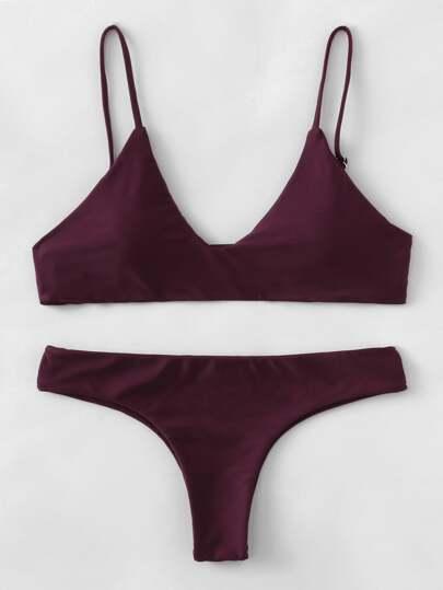 Adjustable Straps Plunge Neckline Bikini Set
