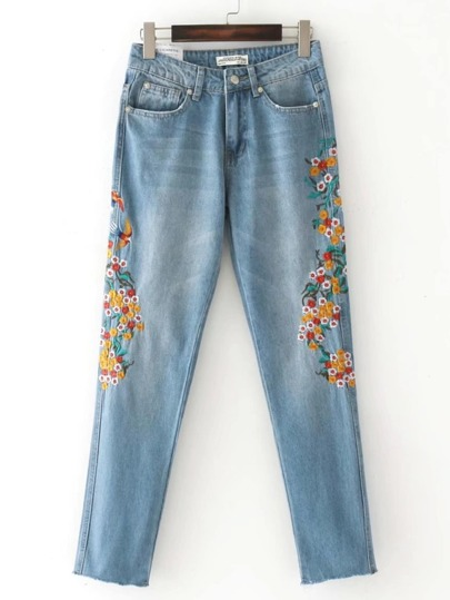 Embroidered Flower Raw Cuff Jeans