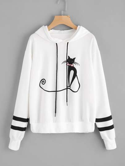 Cat Print Varsity-Striped Hoodie