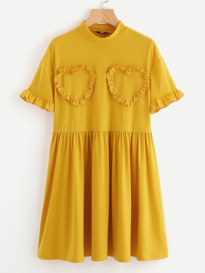 Frilled Heart Detail Smock Tee Dress