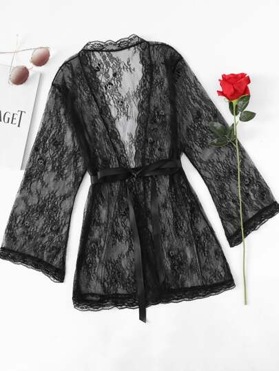 Self Tie Floral Lace Robe