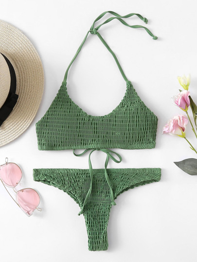 Shirred Halter Bikini Set