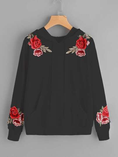Symmetric Embroidered Appliques Hoodie
