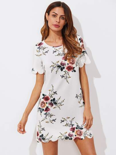 Scallop Trim Botanical Print Tunic Dress