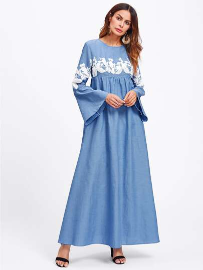 Contrast Lace Applique Bell Sleeve Hijab Long Dress