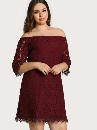 Off Shoulder Lace Overlay Dress