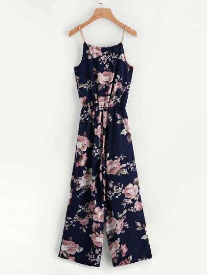 Floral Print Self Tie Cami Jumpsuit