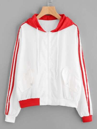Striped Sleeve Print Back Hoodie Jacket