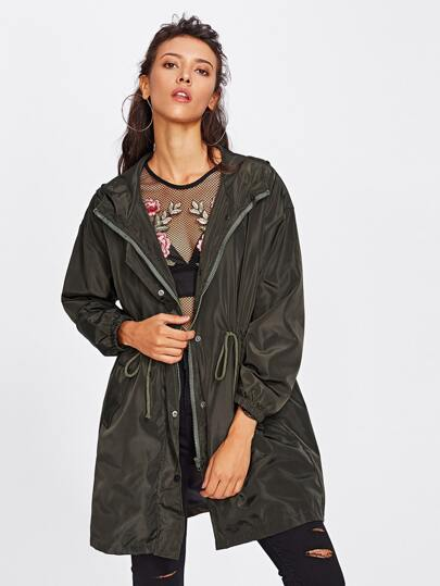 Drawstring Waist Hooded Coat