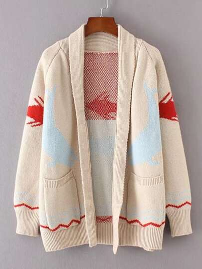 Fish Pattern Shawl Collar Cardigan