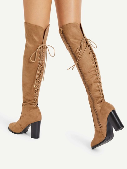 Lace Up Back Block Heeled Knee High Boots