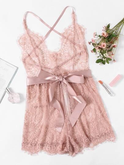 Ribbon Tie Waist Plunging Lace Sleep Romper