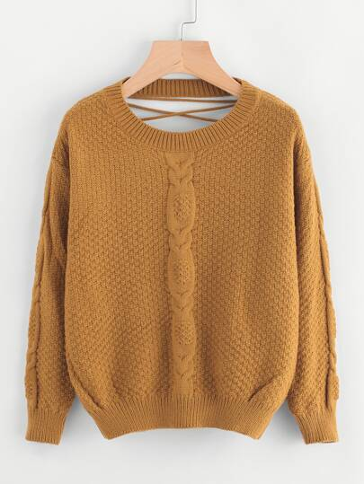 Cut Out Lace Up Back Cable Knit Sweater