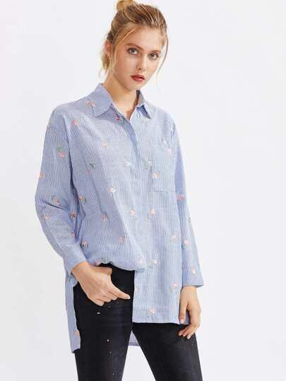 Botanical Embroidered Pinstripe High Low Shirt