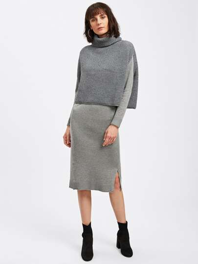 Rolled Neck Cape Sweater & Dress Set
