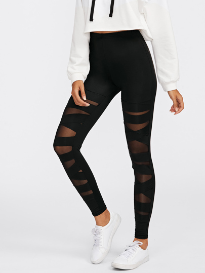 Criss Cross Mesh Leggings