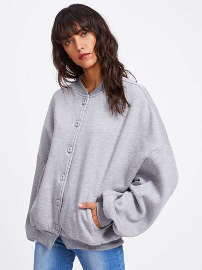 Heather Knit Oversized Baseball Jacket