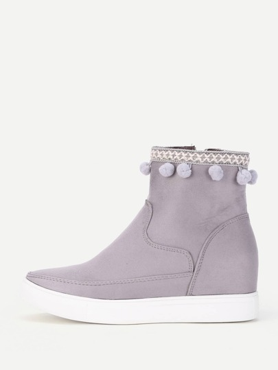 Pom Pom Cuff Hidden Ankle Boots