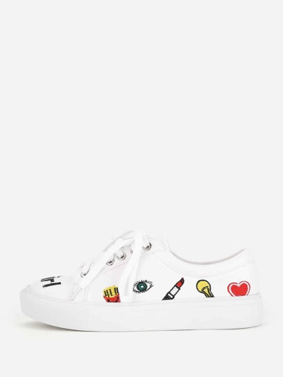Mixed Embroidery Lace Up Sneakers