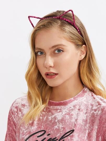 Stirnband mit Leopard und Katzeohr
