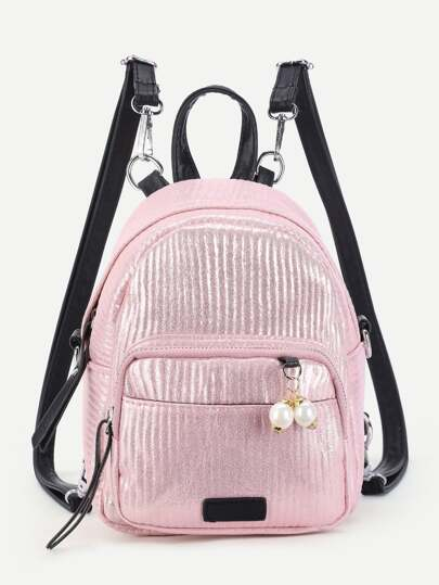 Faux Pearl Detail PU Backpack