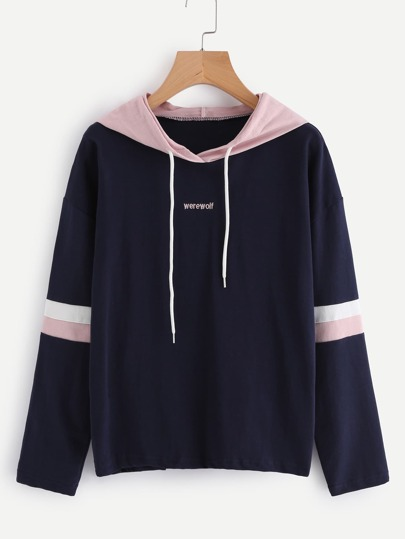 Contrast Hooded Embroidered Striped Sleeve Sweatshirt