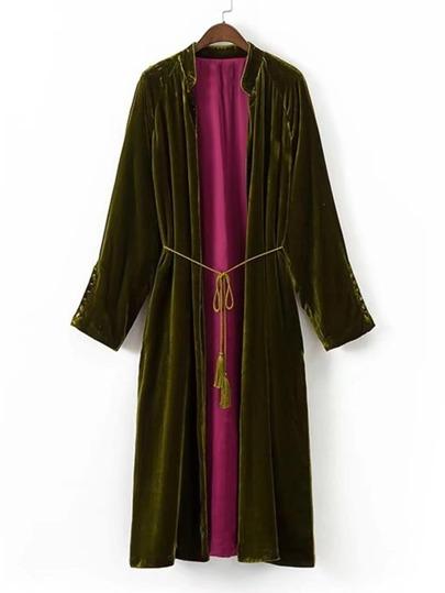 Kimono largo de terciopelo con cordón con fleco